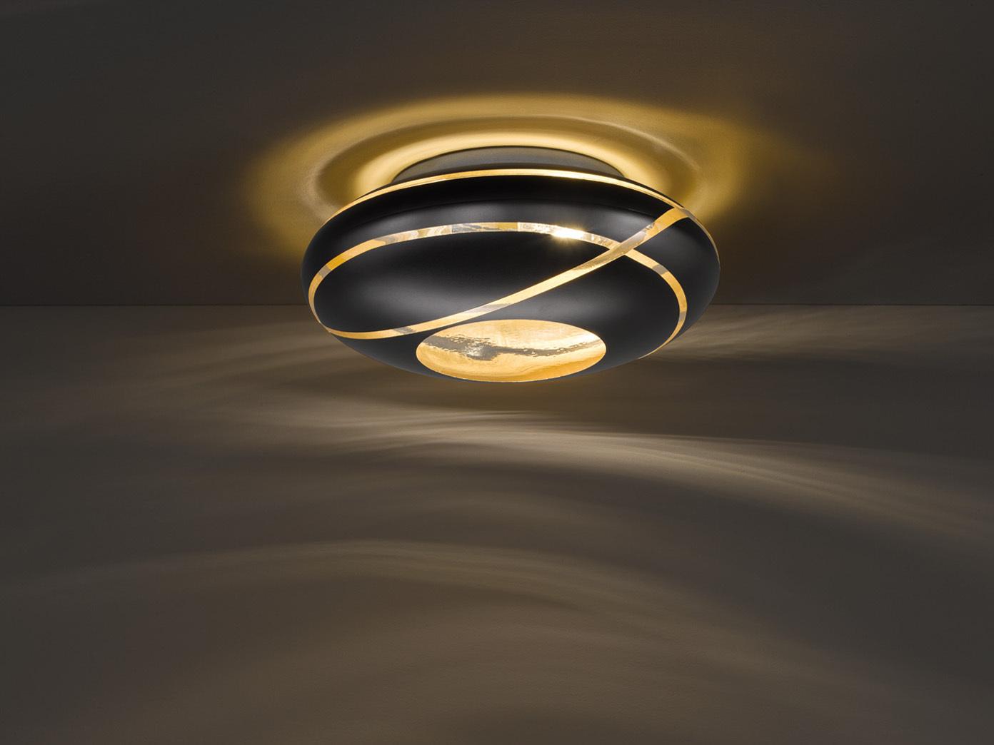 GLAS Lampenschirm Deckenleuchte Ø40cm für Wohnzimmer in Schwarz & innen Gold