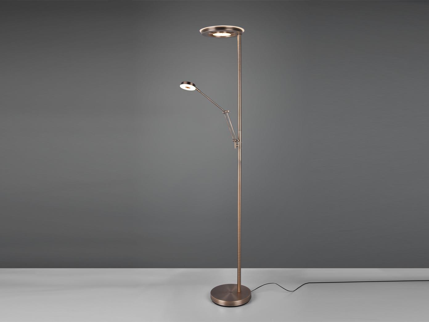Led Deckenfluter Mit Leselampe Altmessing Dimmbar Stehlampe Wohnzimmer Flurlampe Kaufen Bei Setpoint Deutschland Gmbh