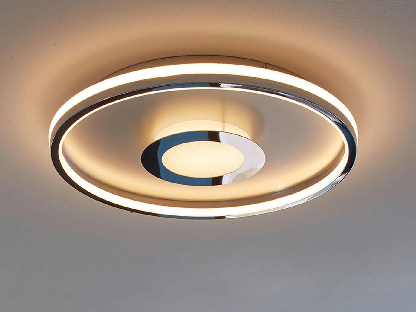 Flache LED Deckenleuchte BUG rund Ø59cm mit Fernbedienung   Silber matt & Chrom   Kaufen bei ...
