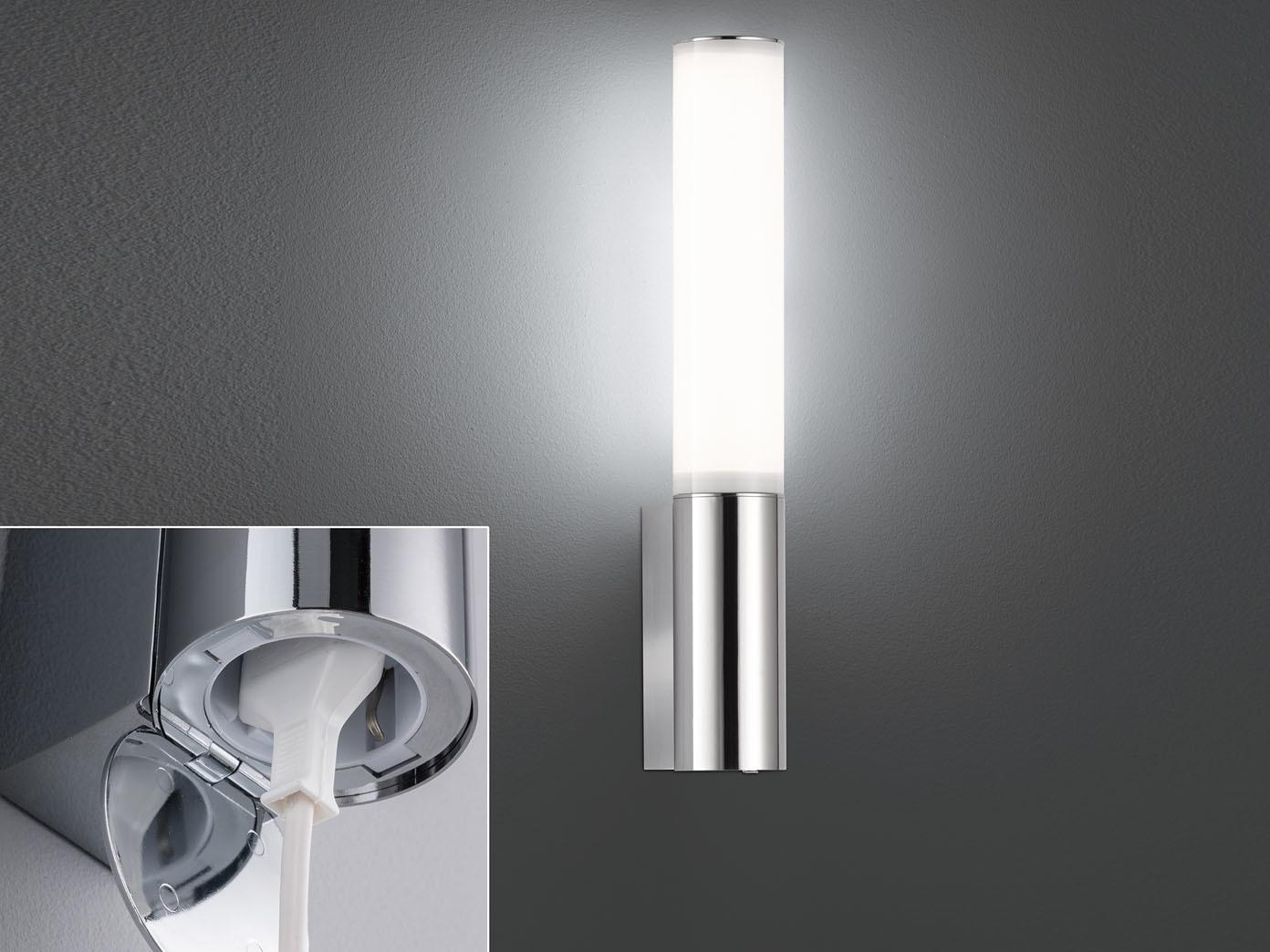LED Wandlampe 16cm mit Steckdose fürs Bad - Spiegelleuchte & Badlampe  Badspiegel