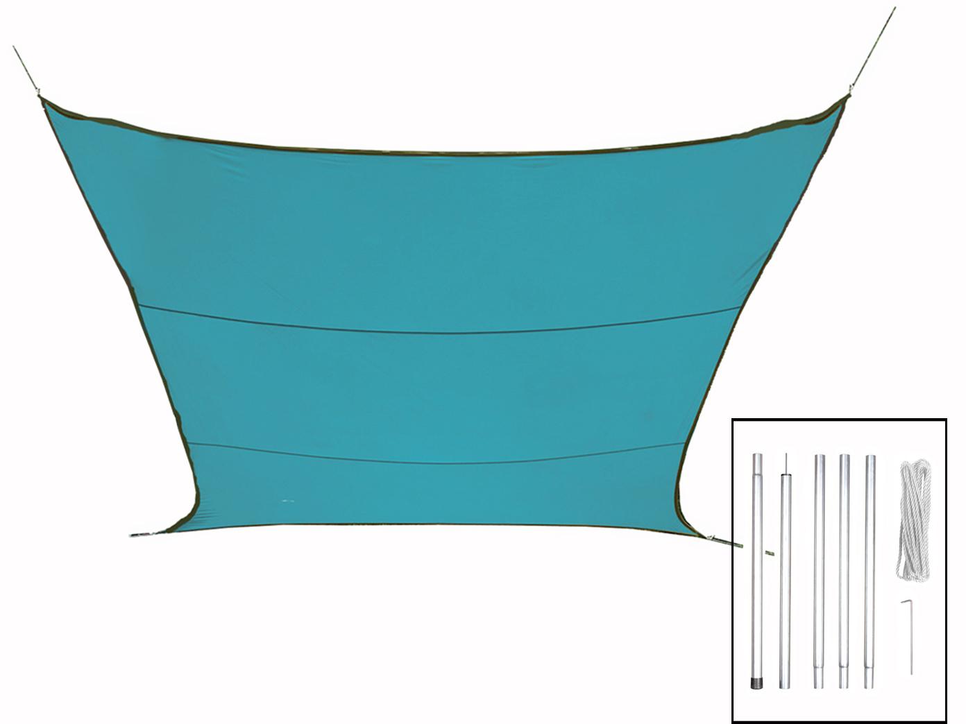 Sonnensegel rechteckig blau 4x3m mit Stangen, Sonnenschutzsegel für Terrasse