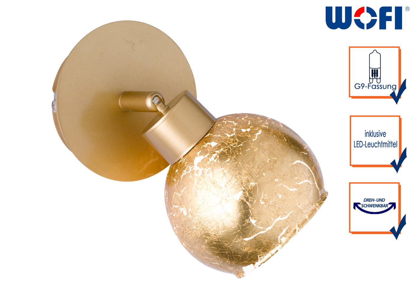 LED Wandleuchte Spot drehbar Goldfarbig G9, Wandleuchte Wohnzimmer  Schlafzimmer
