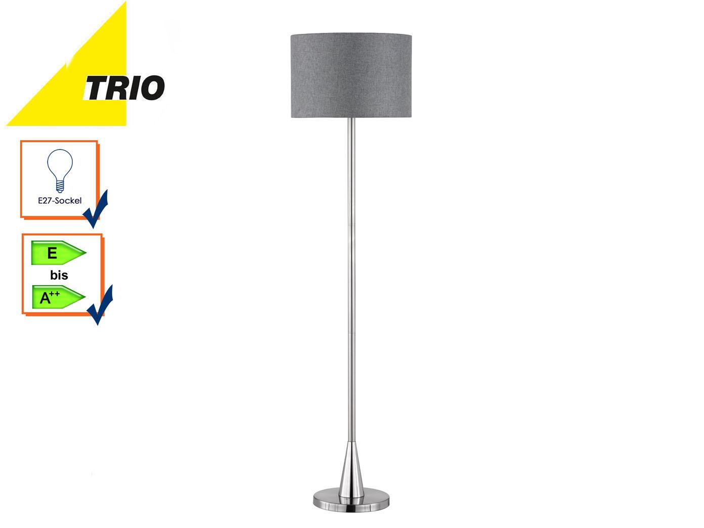 Trio Stehleuchte COSINUS Lampenschirm Textil grau Ø40cm, Stehlampe  Wohnzimmer