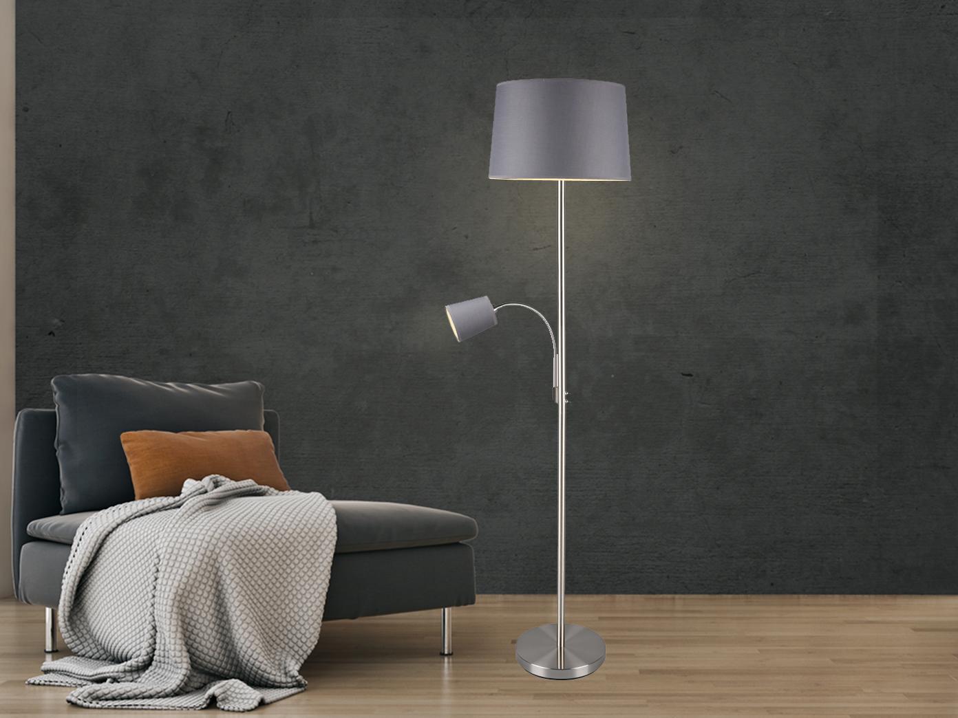 Stehleuchte mit Leselampe grauer Stoffschirm für Wohnzimmer Stehlampen zum  Lesen - yatego.com