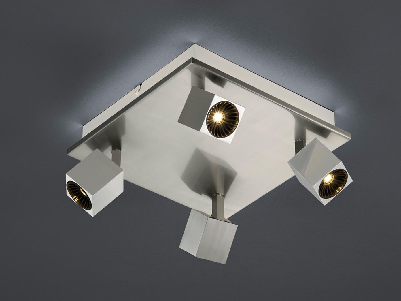 Eckige LED Deckenleuchte 4fl. Nickel matt indirekte Beleuchtung für ...