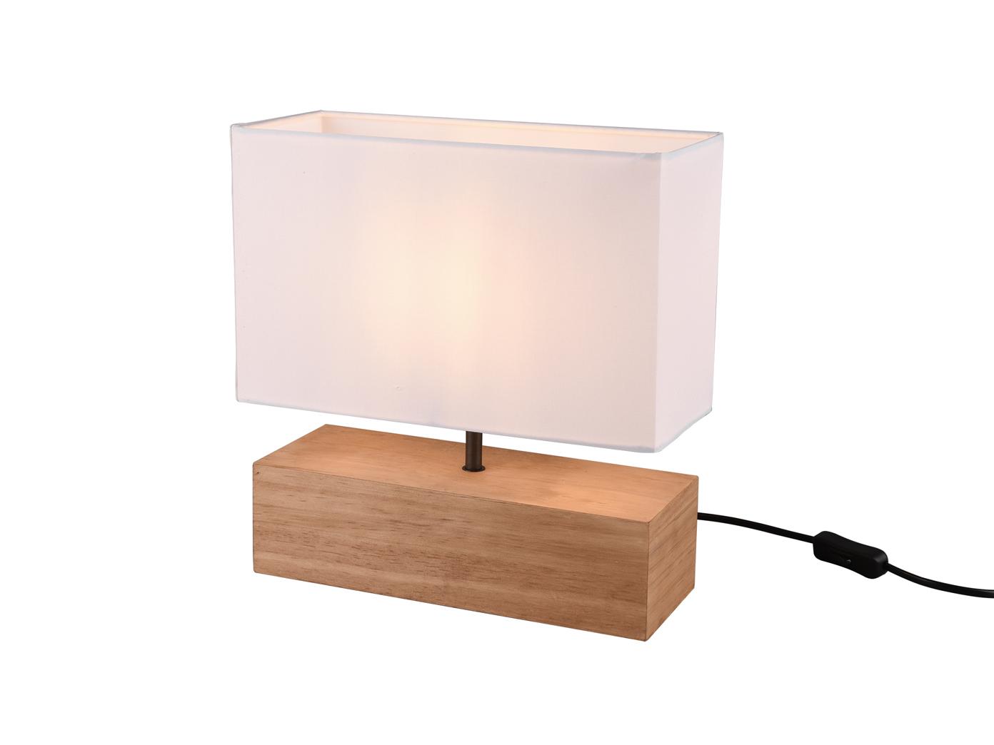 Nachtischleuchen großer kleiner Fuß 30cm hoch und schmal Holz Stofflampenschirm