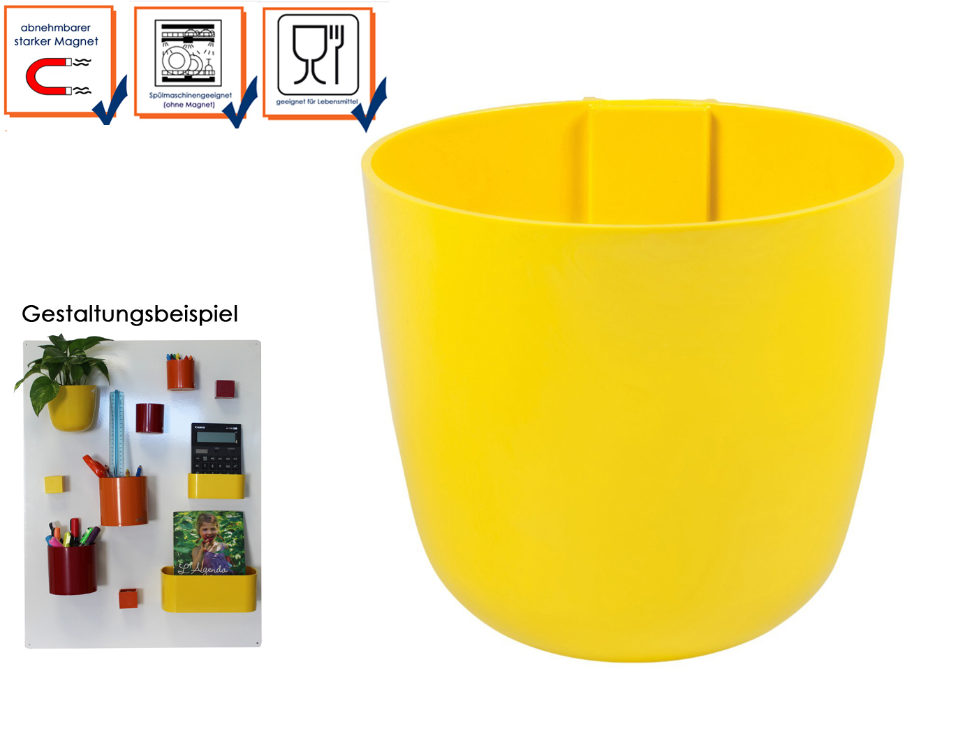Limem Kunststofftopf mit Magnet Ø 10 cm KalaMitica Wandaufbewahrung Wanddeko