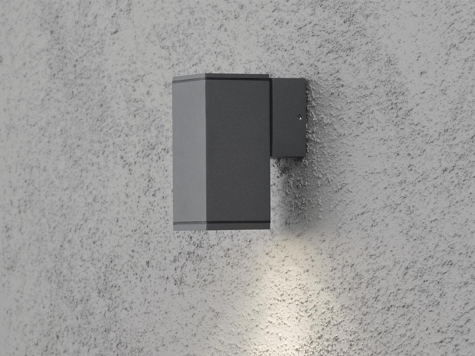 Aluminium Wandleuchte Wandlampe anthrazit GU10-Sockel H    13, 5cm IP44 Außenlampe 103551