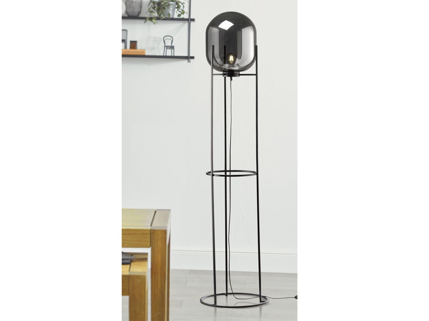 Retro Design Stehlampe 170cm Schwarz Mit Rauchglas Kugel Schirm