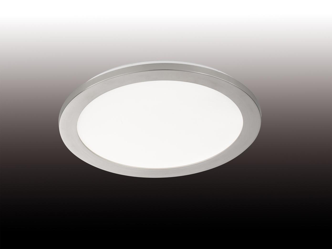 dimmbare led deckenleuchte aus acrylglas nickel ip44. Black Bedroom Furniture Sets. Home Design Ideas