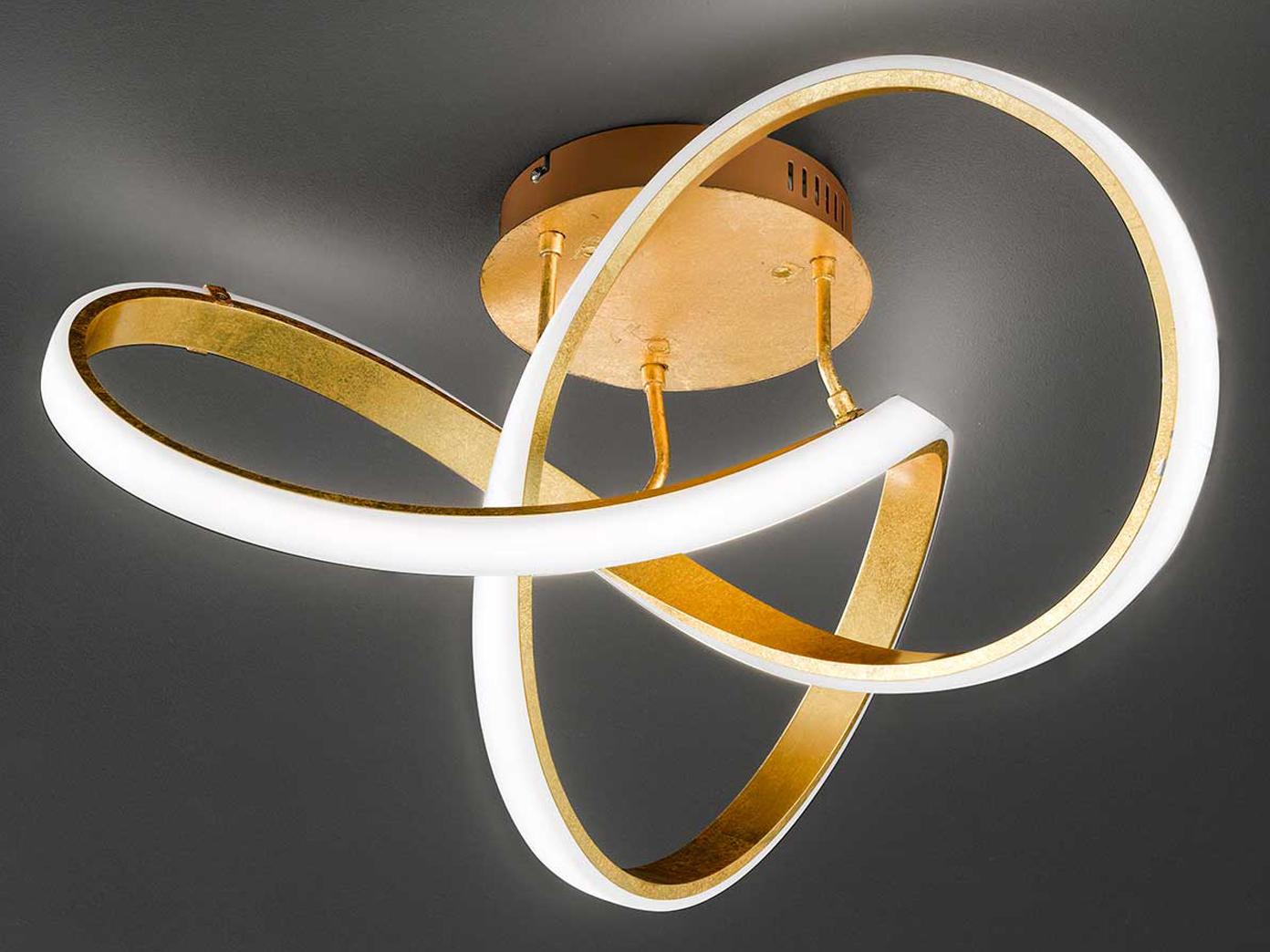 Ausgefallene Deckenleuchte LED dimmbar Gold Designer Deckenleuchten  Wohnzimmer