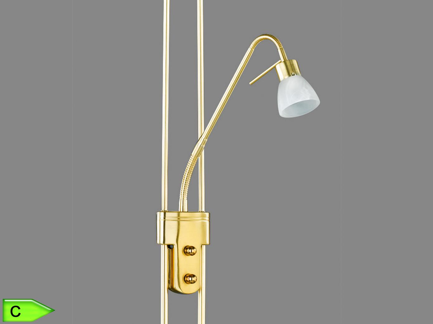 H.: 180cm Lesearm Trio ECO-Halogen-Deckenfluter Messing Glas weiß