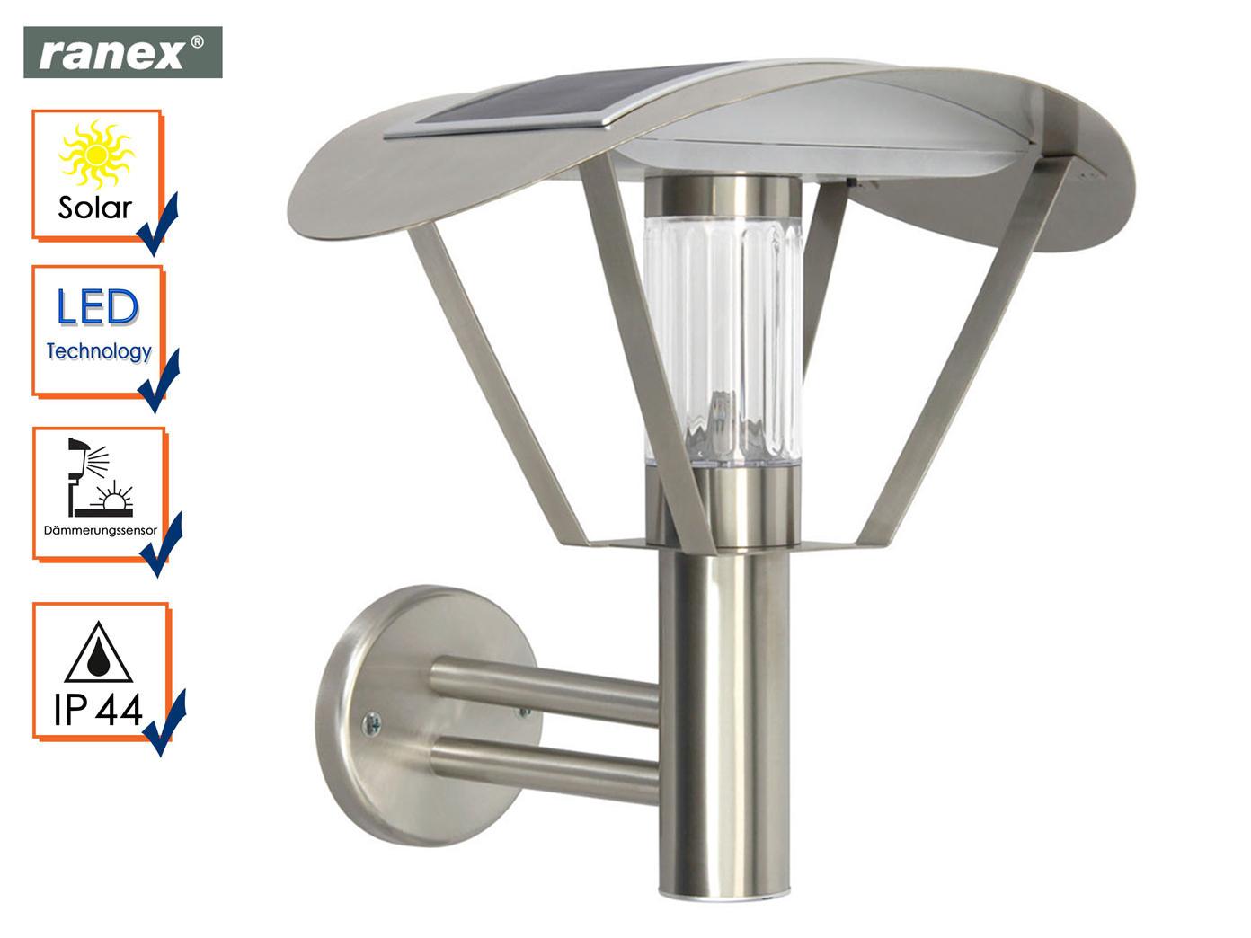 Solarlampe LED Außenwandleuchte Edelstahl, Dämmerungssensor, Solar Solar Solar Wandleuchte 34ca7a