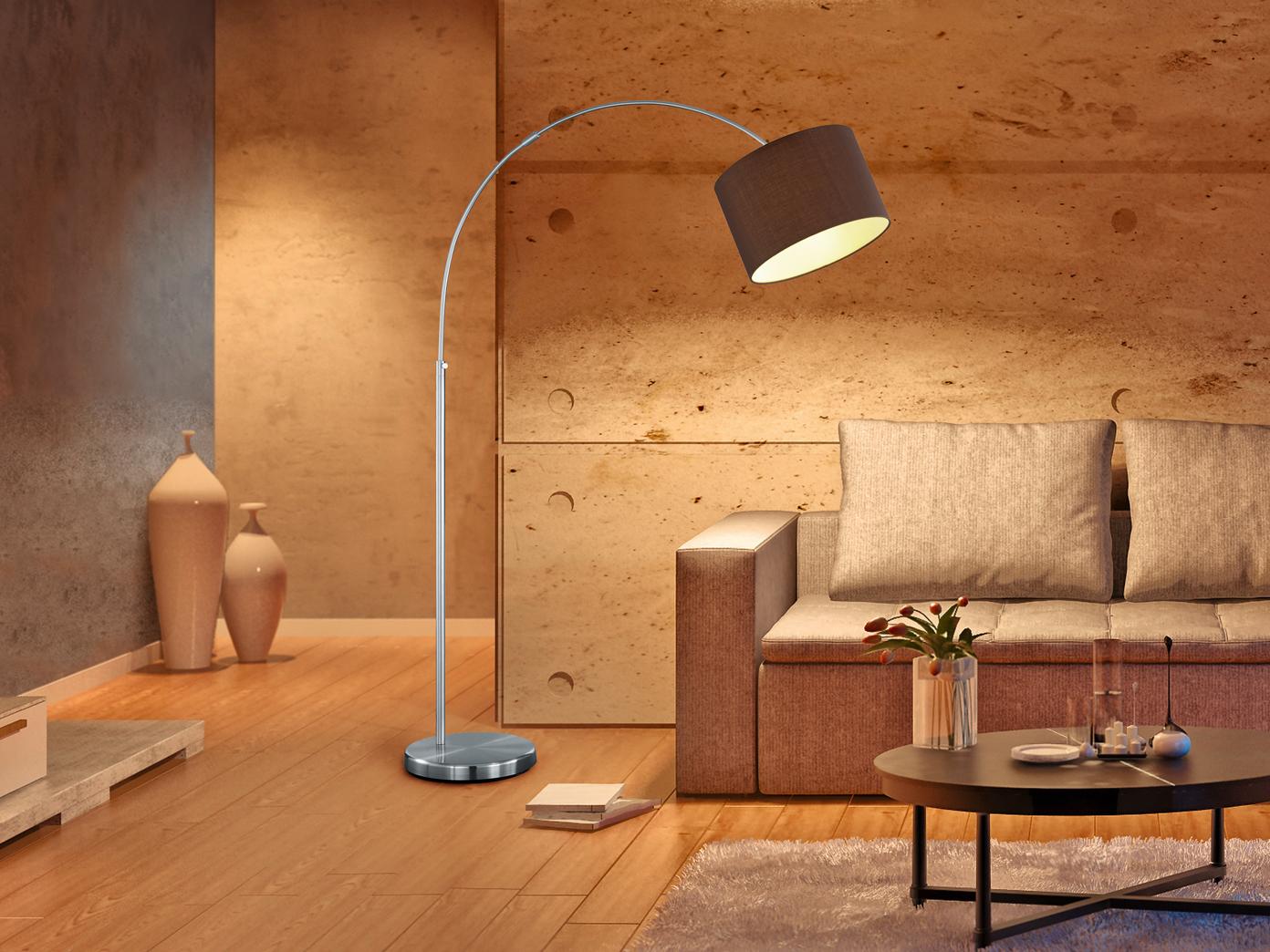 Design Bogenlampe Mit Stoffschirm Braun Hohenverstellbar Stehlampen Wohnzimmer Kaufen Bei Setpoint Deutschland Gmbh
