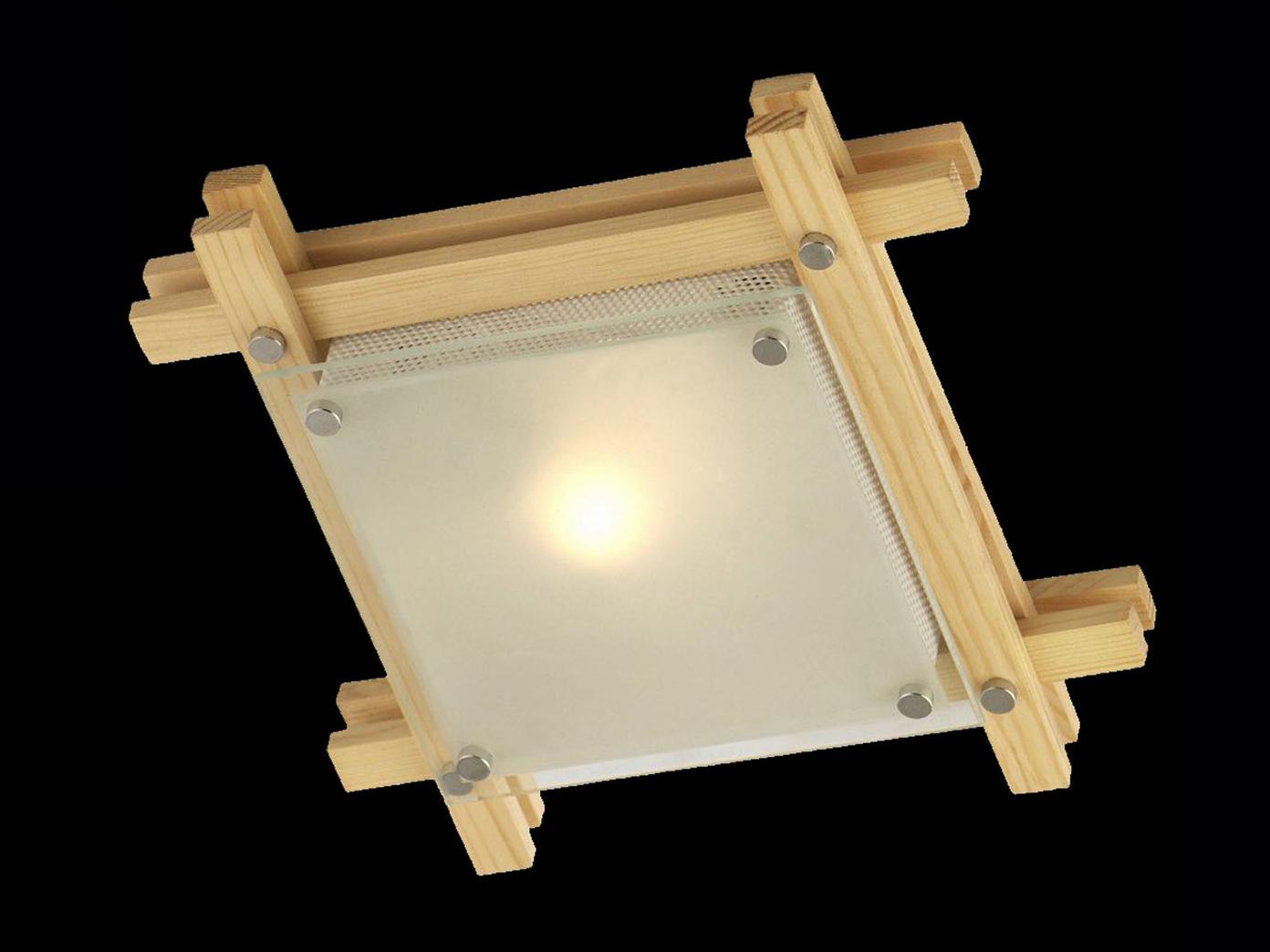 Globo Deckenleuchte Edison Holz Hell Glas Deckenlampe Wohnraum