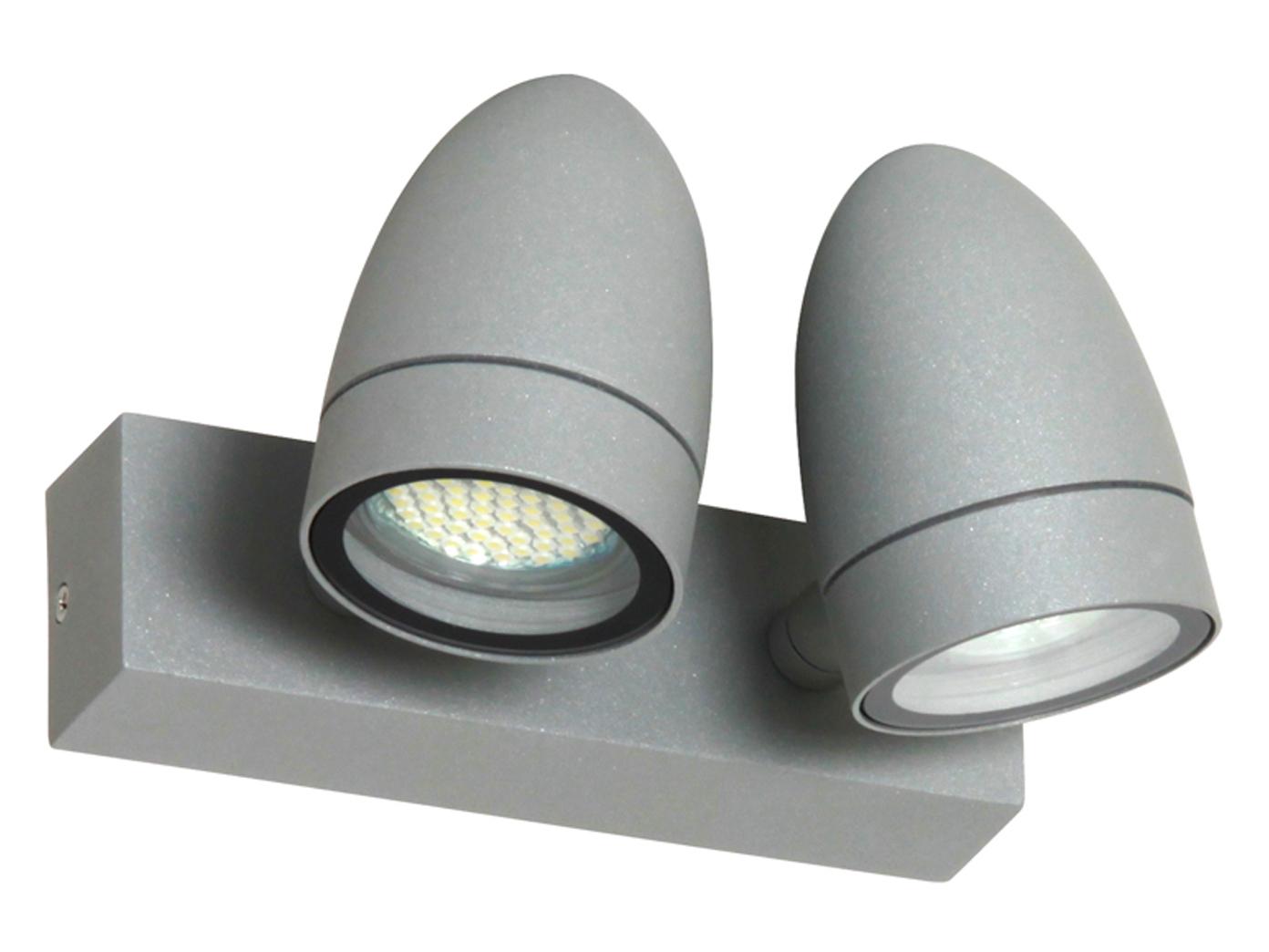 Led Doppelwandleuchte Aluminium Grau Ip54 Strahler Schwenkbar