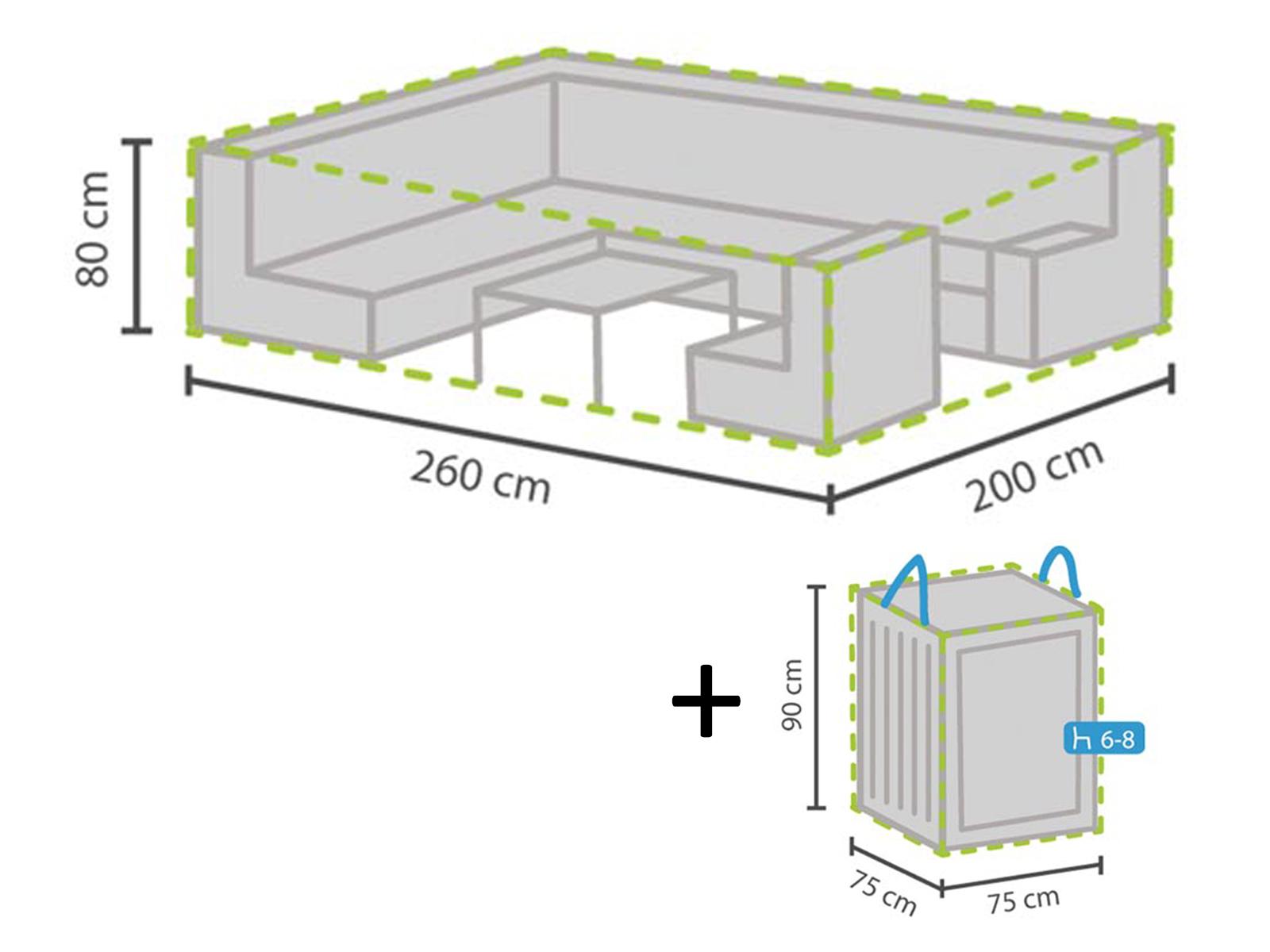 Abdeckhaubenset  Schutzhülle 260x200cm für Garten Lounge + Hülle für für für 6-8 Polster 09f87d