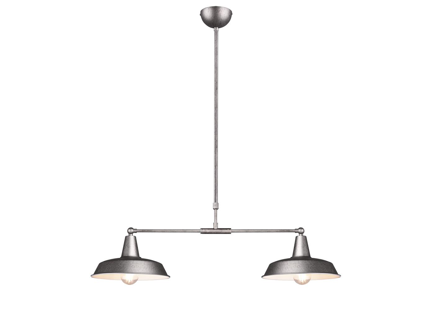 Dimmbare LED Pendelleuchte Silber 2flammig höhenverstellbar + bewegliche Schirme