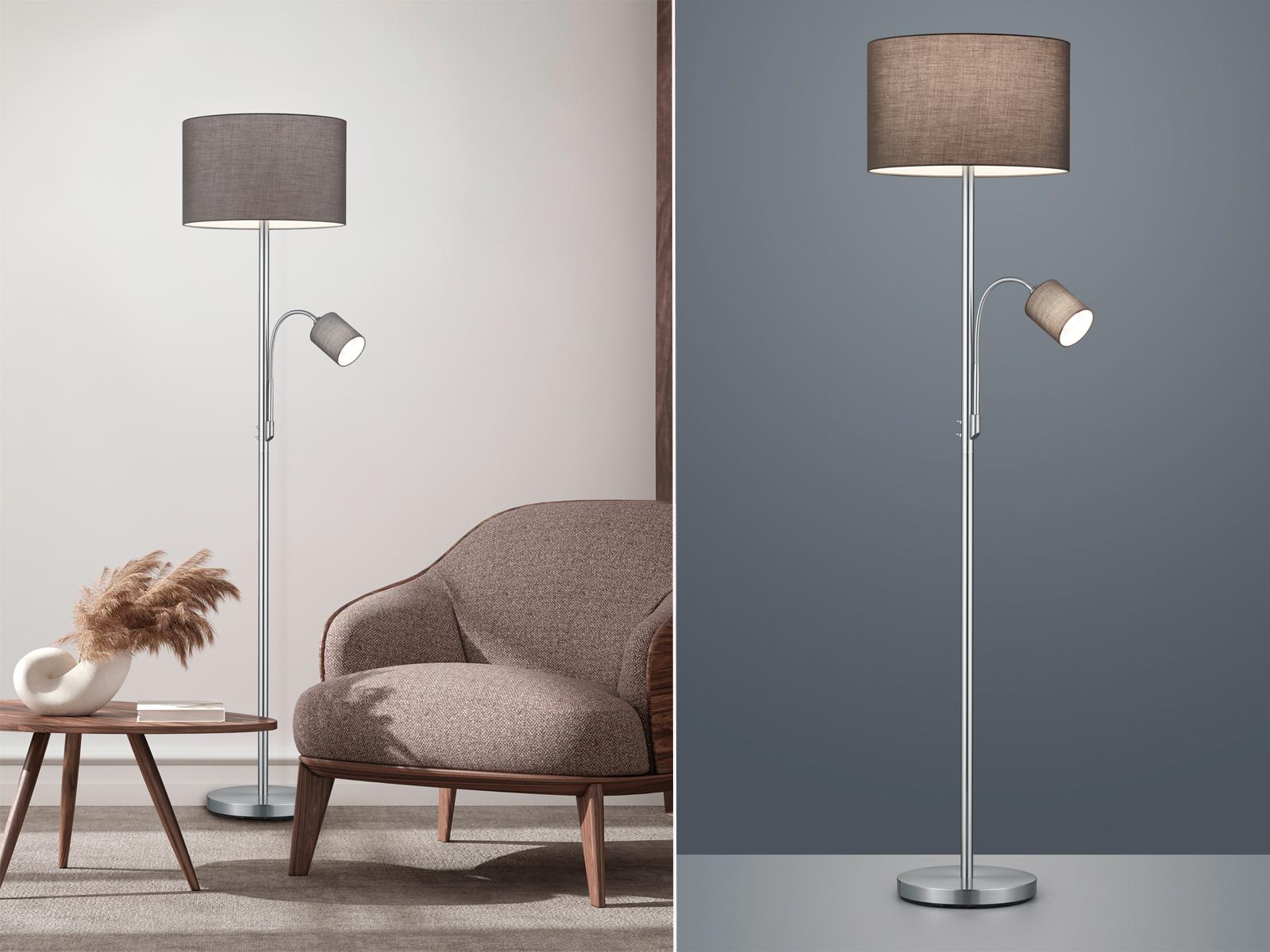 Stehleuchte mit Leselampe Stoffschirm grau für Wohnzimmer Stehlampen zum  Lesen - yatego.com