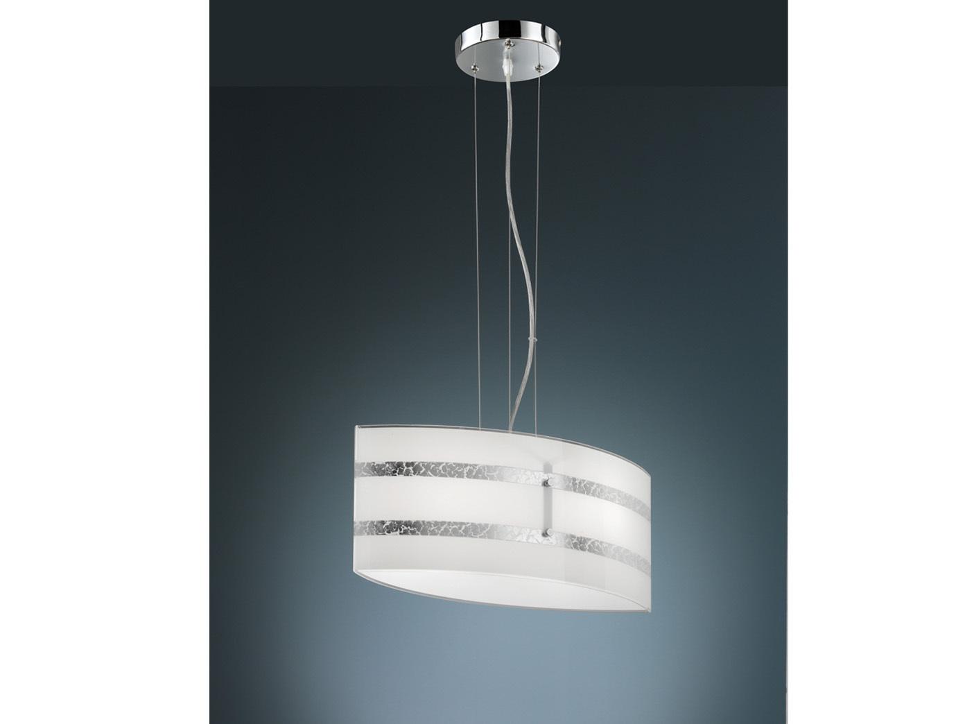 1 flammige Hängeleuchte mit Glas Schirm in weiß mit 2 silberfarbenen Streifen