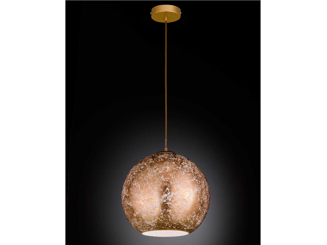 Design Led Pendelleuchte Mit Kugel Lampenschirm Gold ø 30cm Elegante