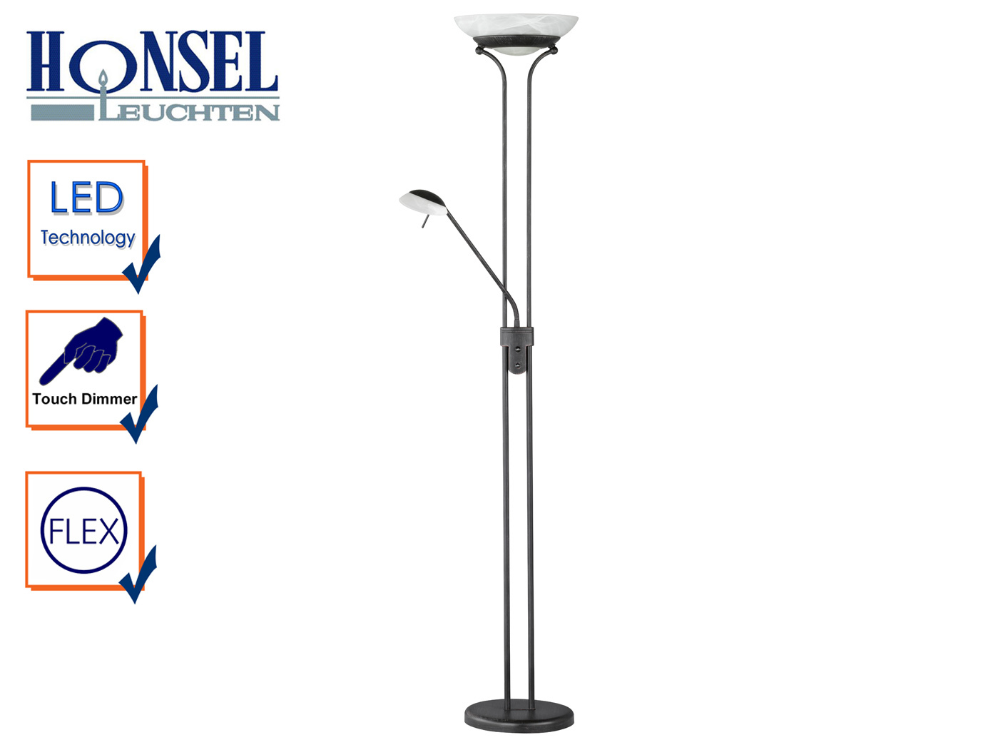 Design Led Deckenfluter Dimmbar Mit Leselampe Rostfarbig Stehlampe