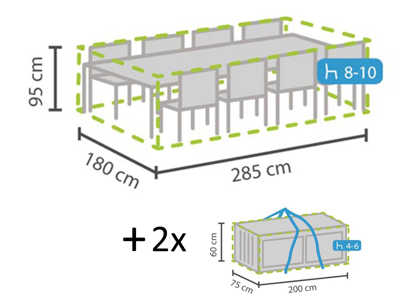Schutzhüllen Set Abdeckung Für Gartenmöbel 285x180cm 2x Hülle Für 4 6 Kissen