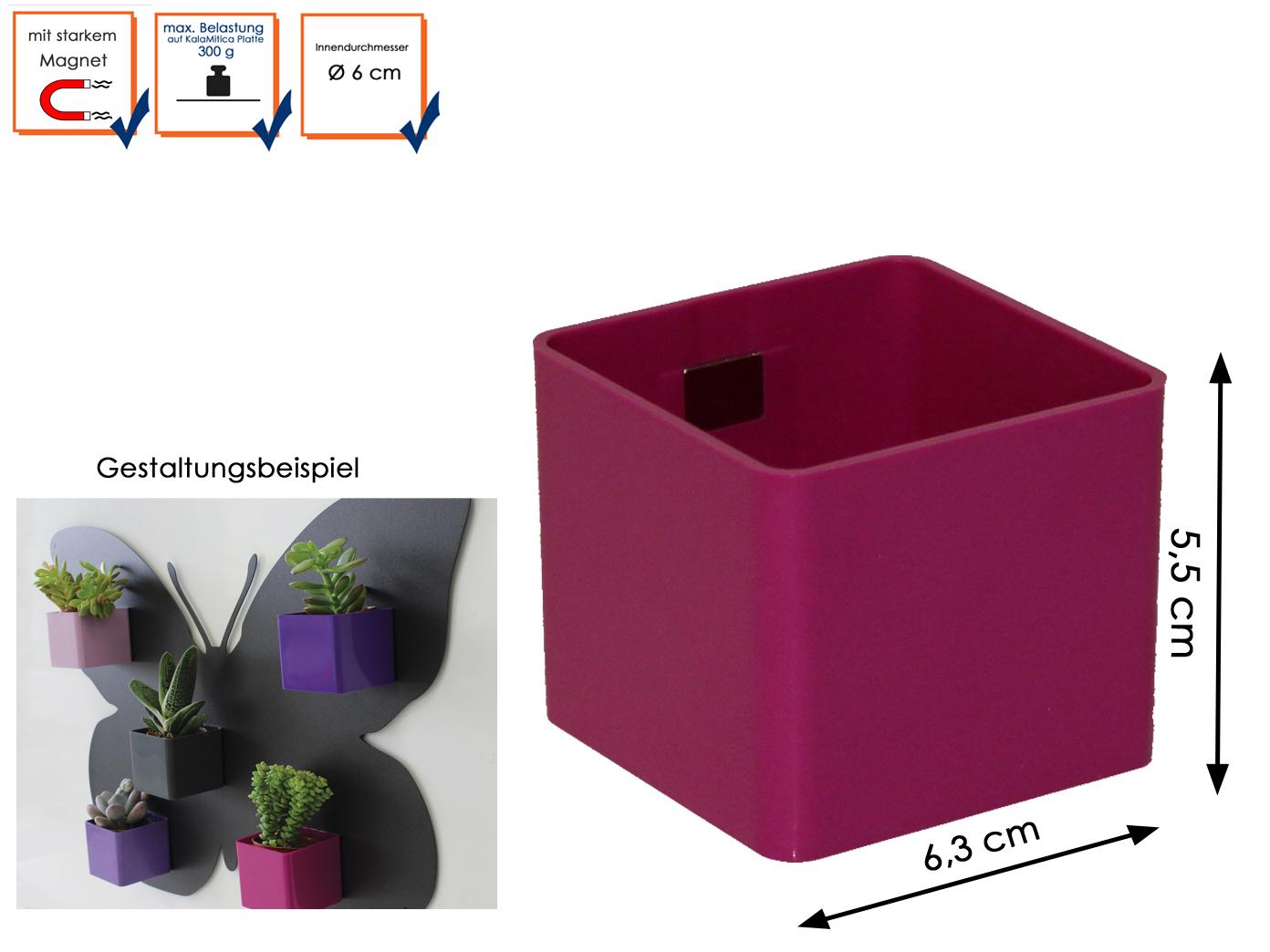 Kunststofftopf mit Magnet Mini Würfe Ø 6 cm KalaMitica Wanddeko Aufbewahrung