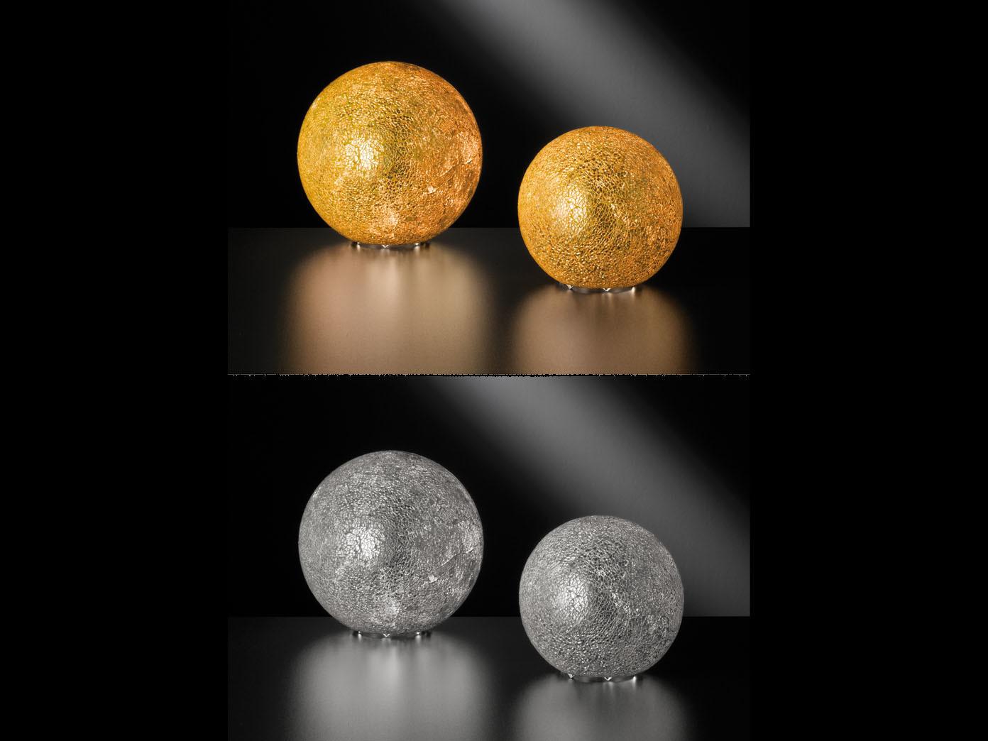 Tischleuchte CHRIS Goldfarbig craquele 25cm E27 Tischlampe modern Design Kugel