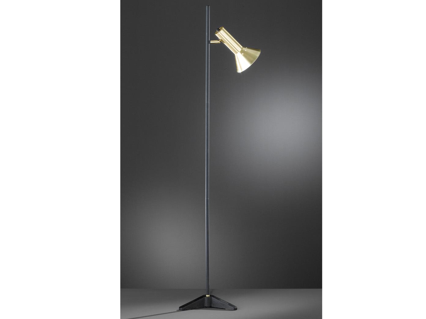 Retro Led Stehlampe Lampenschirm Schwenkbar Schwarz Gold