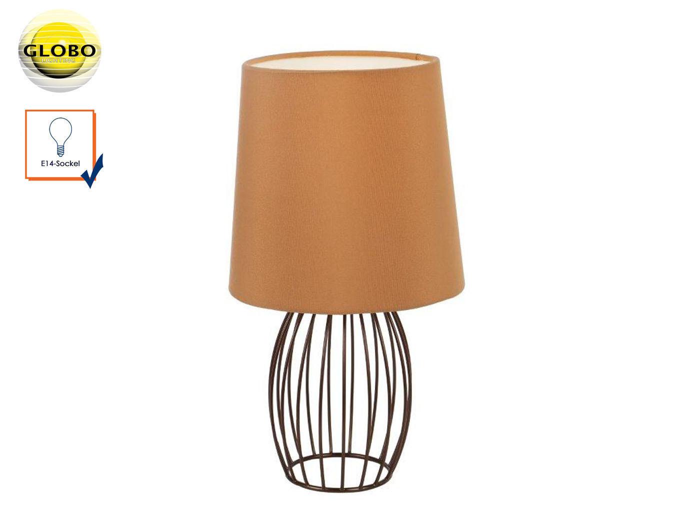 Design Tischleuchte modern mit LED Textilschirm braun Tischlampe Wohnzimmer  Flur
