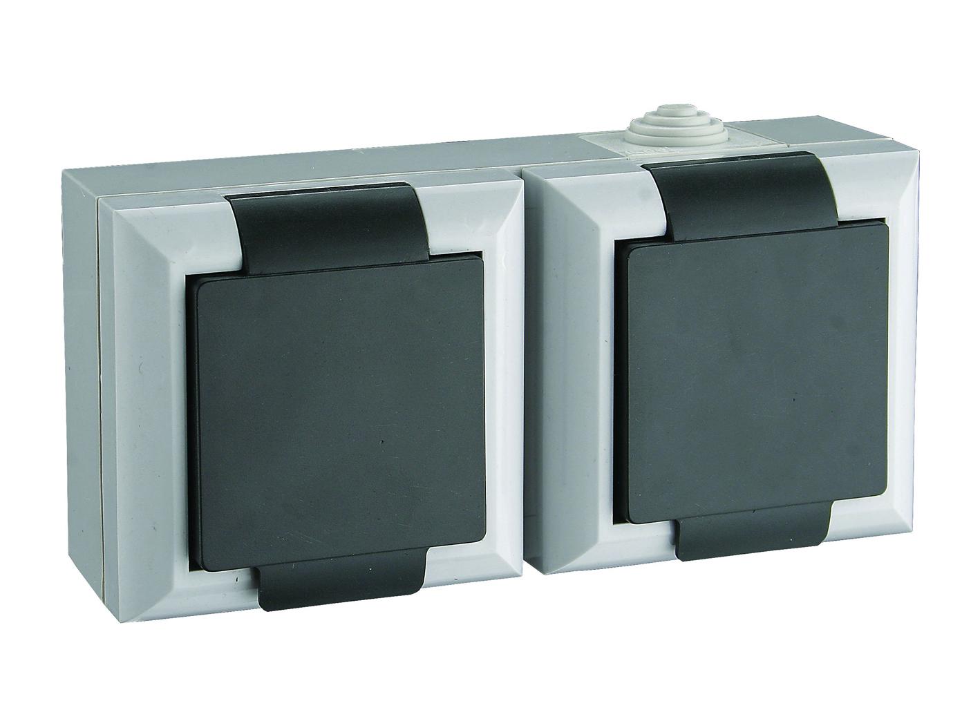 4er-Set 2fach Schutzkontaktsteckdose mit Deckel Feuchtraum Außen 2-polig