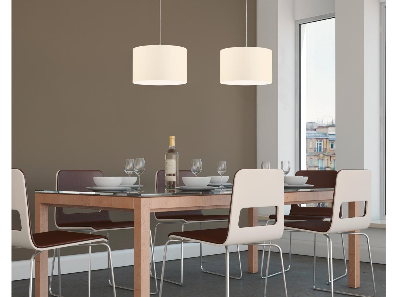 led pendelleuchte mit stoff lampenschirm rund in wei. Black Bedroom Furniture Sets. Home Design Ideas