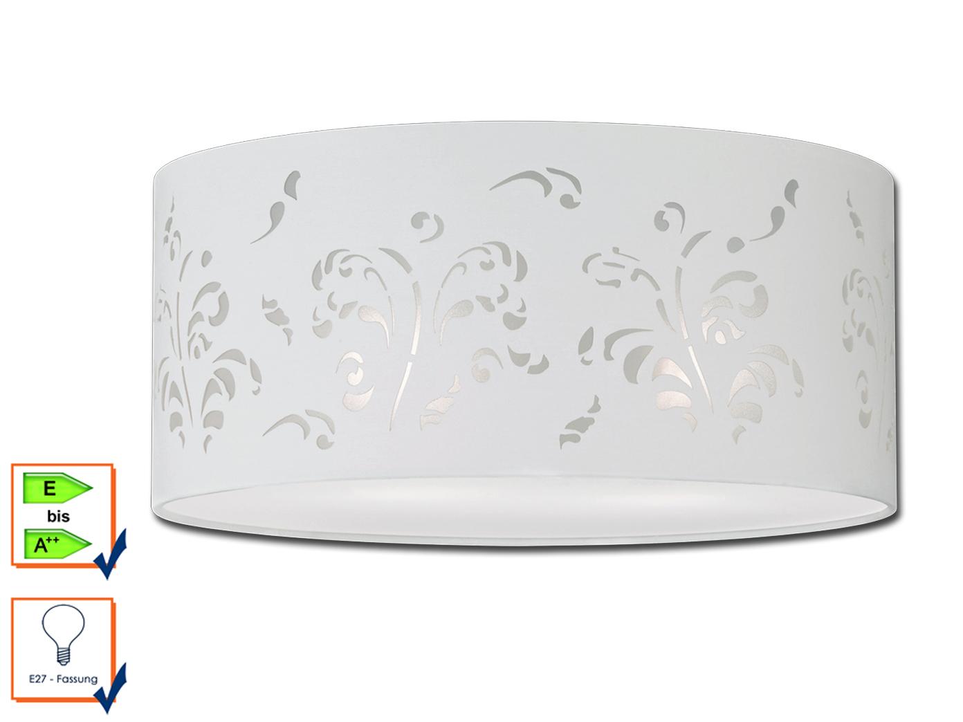Deckenleuchte 45cm stoffschirm wei mit dekor for Deckenleuchte lampe