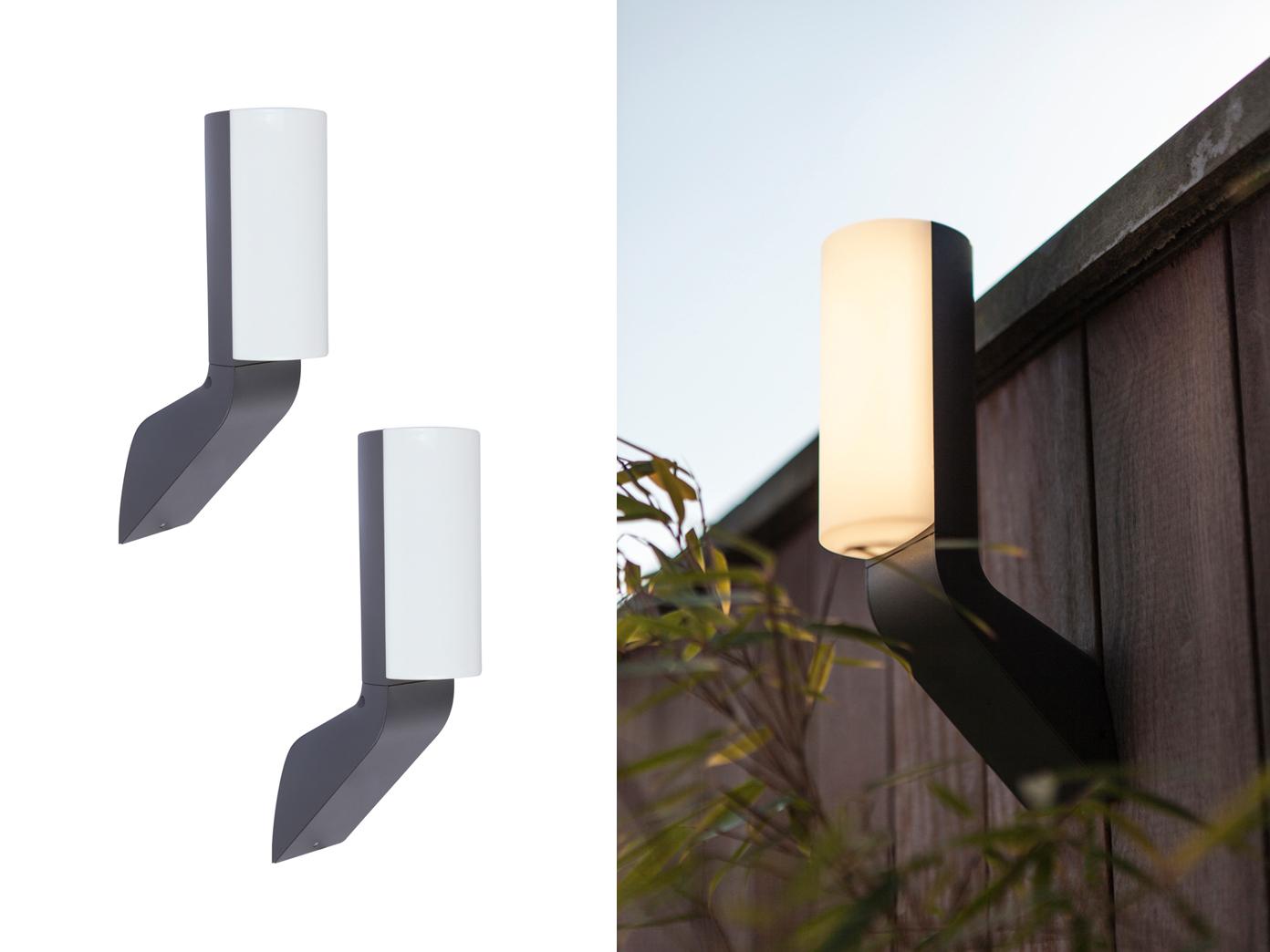 LED Außenbeleuchtung, moderne Wandlampen im 2er SET für Terrasse, Balkon,  Garten