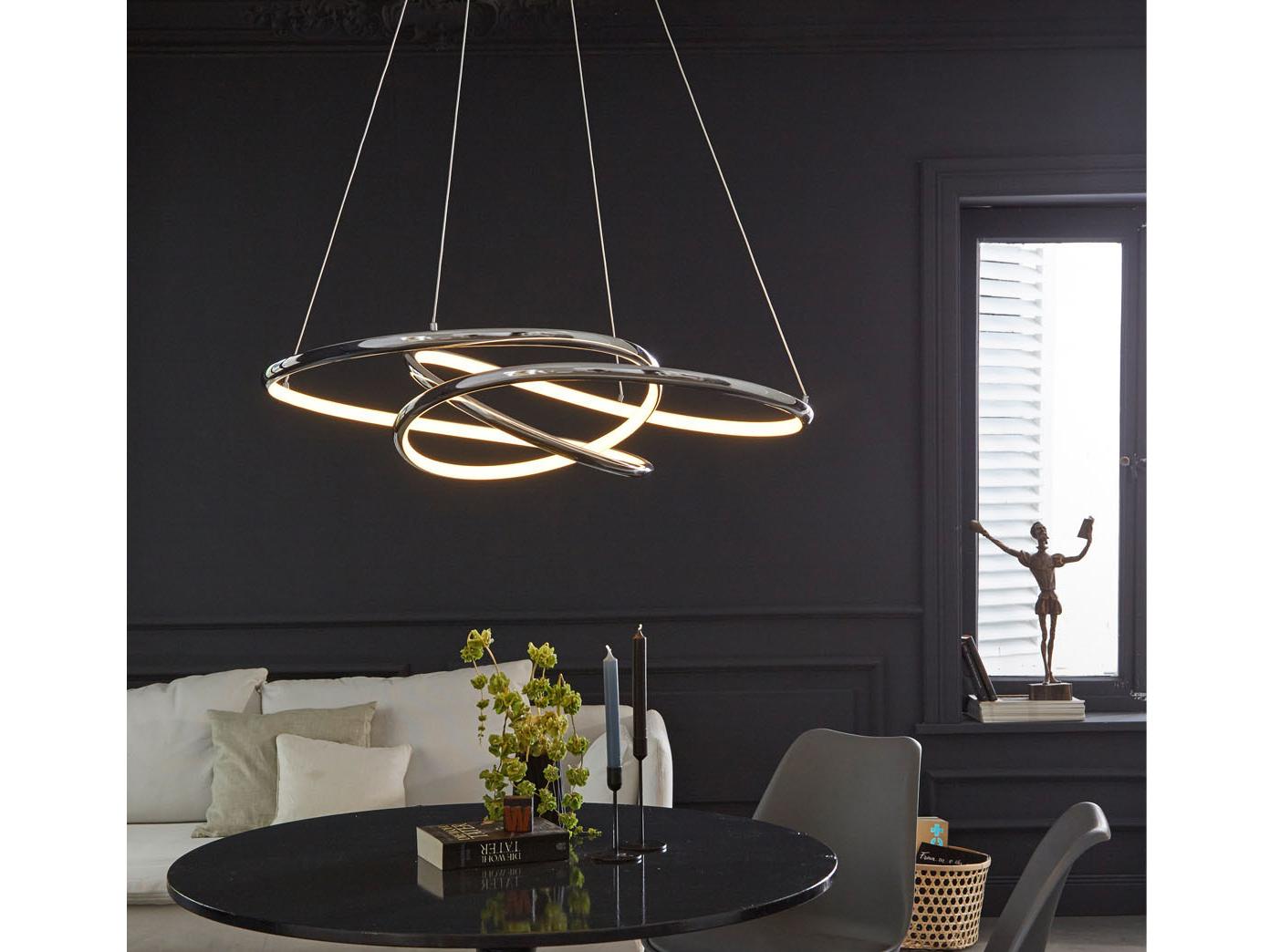 dimmbare led pendelleuchte silber 69x95cm, modernes design, esstischlampe  küche