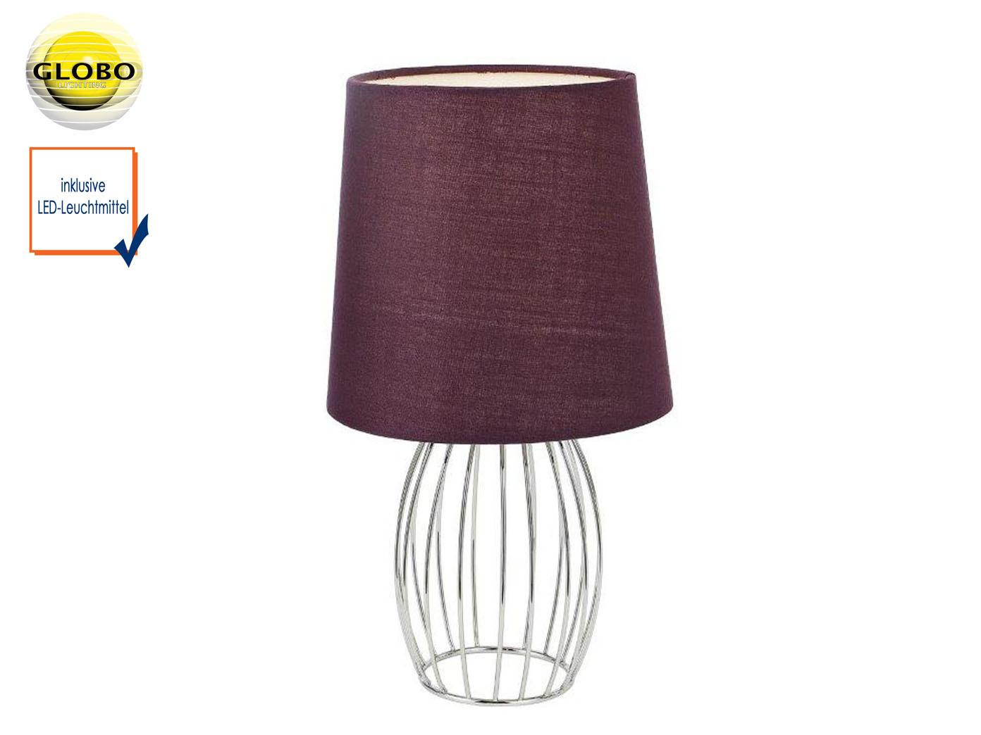 Design Tischleuchte modern mit LED Textilschirm lila, Tischlampe Wohnzimmer  Flur