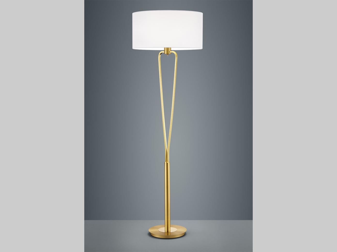 Klassische Led Stehlampe Messing Matt Mit Rundem Textil Schirm In