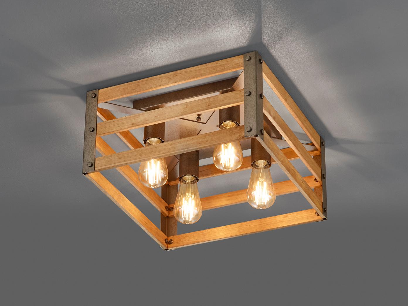 Industrial Look Deckenleuchte Kuchenlampe Mit Viereckigem Lampenschirm Aus Holz Kaufen Bei Setpoint Deutschland Gmbh