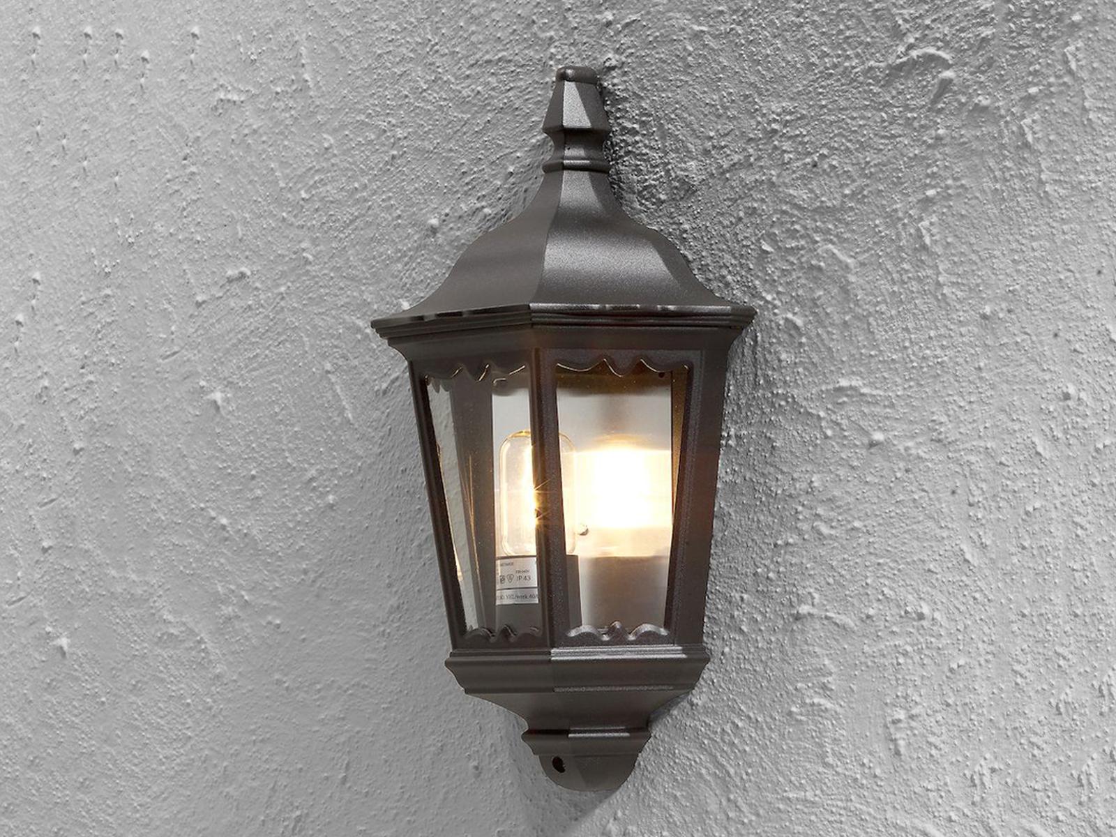 Schwarze Halbschalen Außenwandleuchte FIRENZE FIRENZE FIRENZE Wandleuchte Wandlampe 1a1f6c