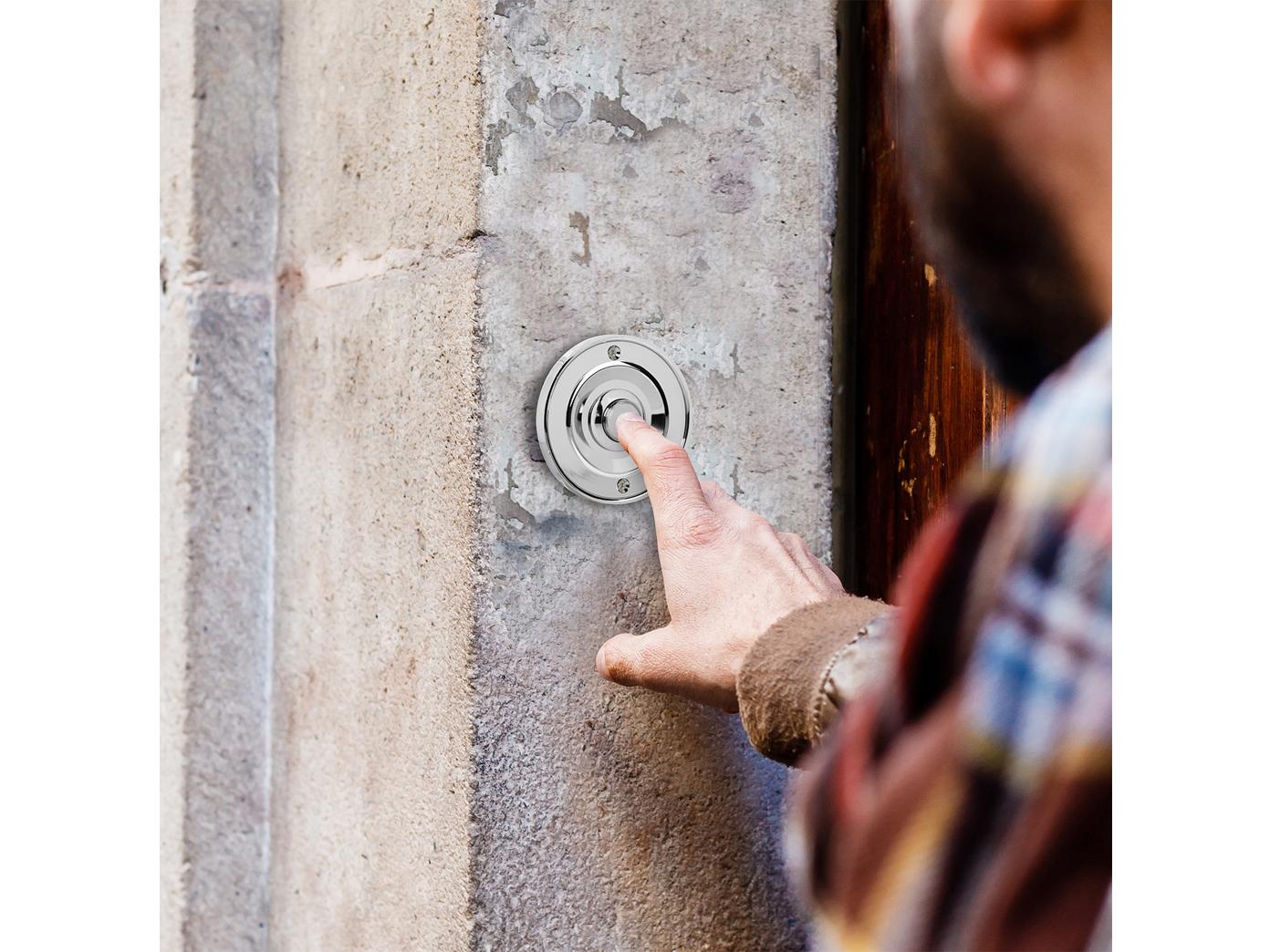 Runder Klingelknopf Chrom klassisches Design Klingeltaster rund Klingelplatte