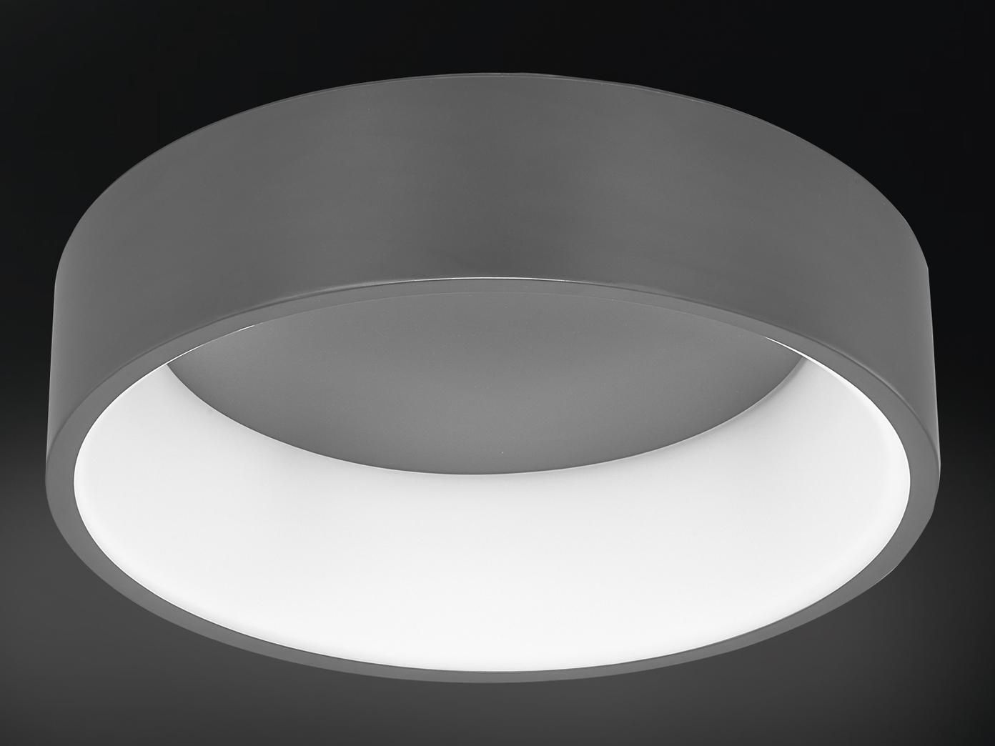 Große LED Deckenleuchte mit grauem Metallschirm - LED Lampen fürs Wohnzimmer