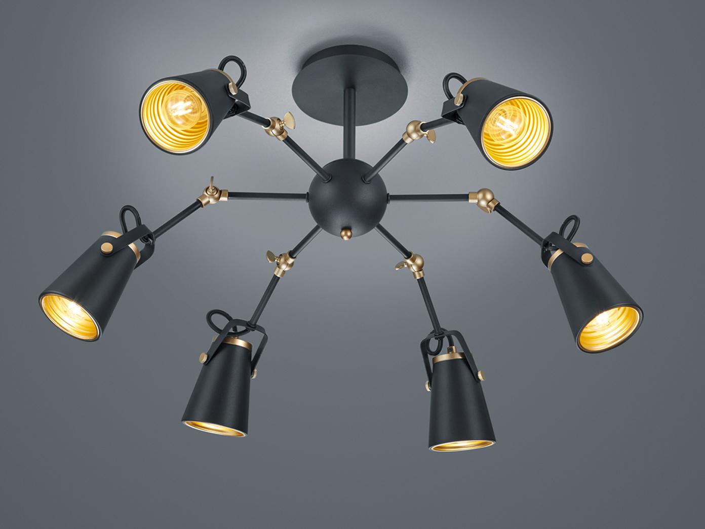 Coole Deckenlampe für Wohnzimmer aus Metall in schwarz mit 3 verstellbaren  Spots - yatego.com