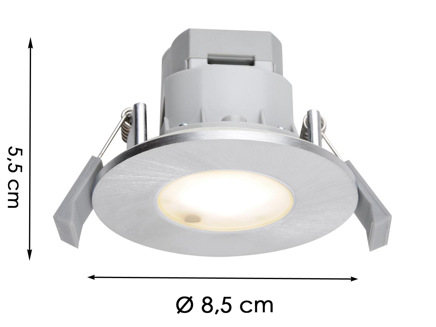 LED Einbaustrahler Decke rund Ø 20, 20 cm Aluminium gebürstet 20, 20W IP620  Badleuchten