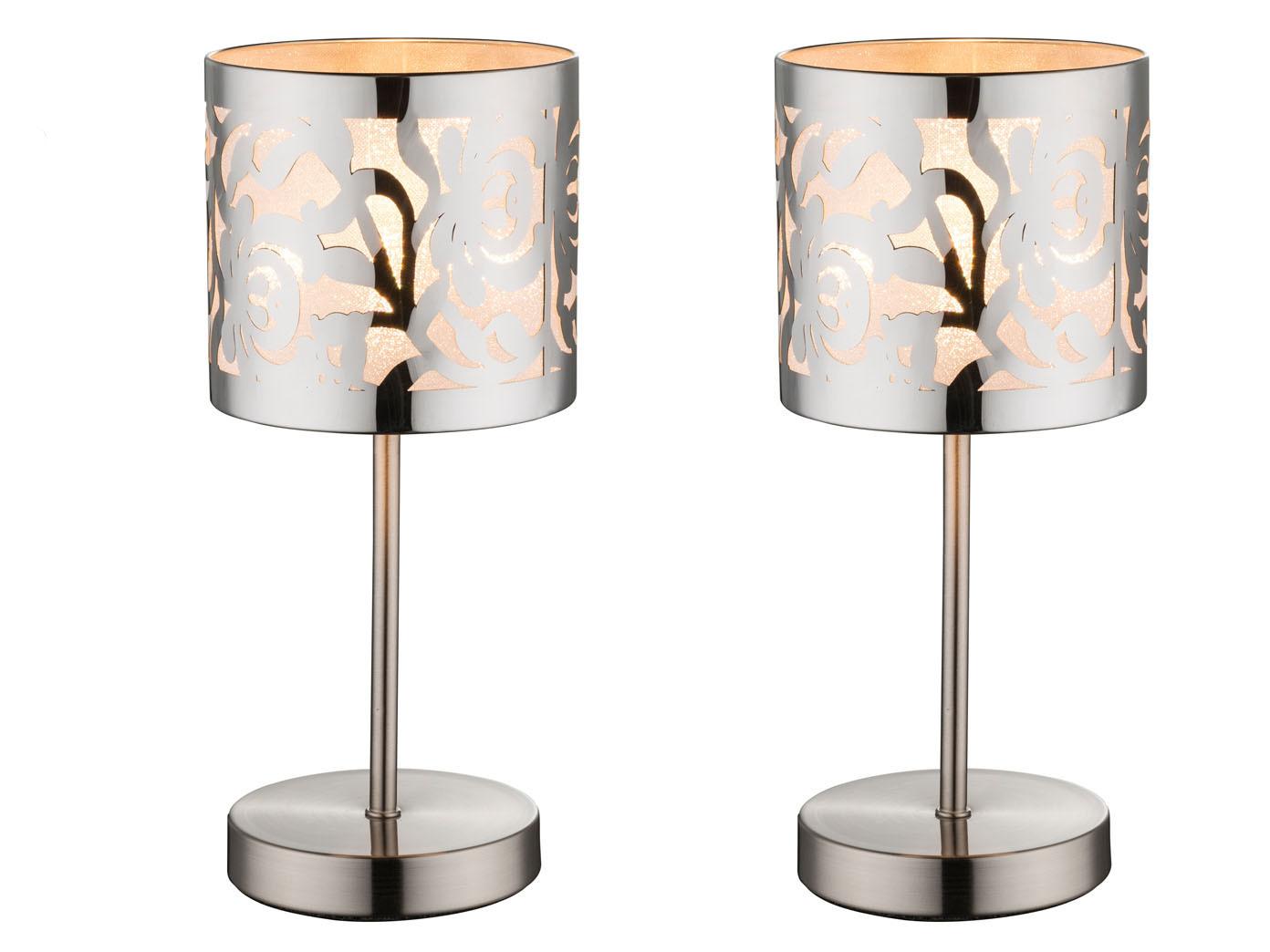 2er Set Tischleuchten Nachttischlampen Modern Schirm Edelstahl Dekor Stanzung