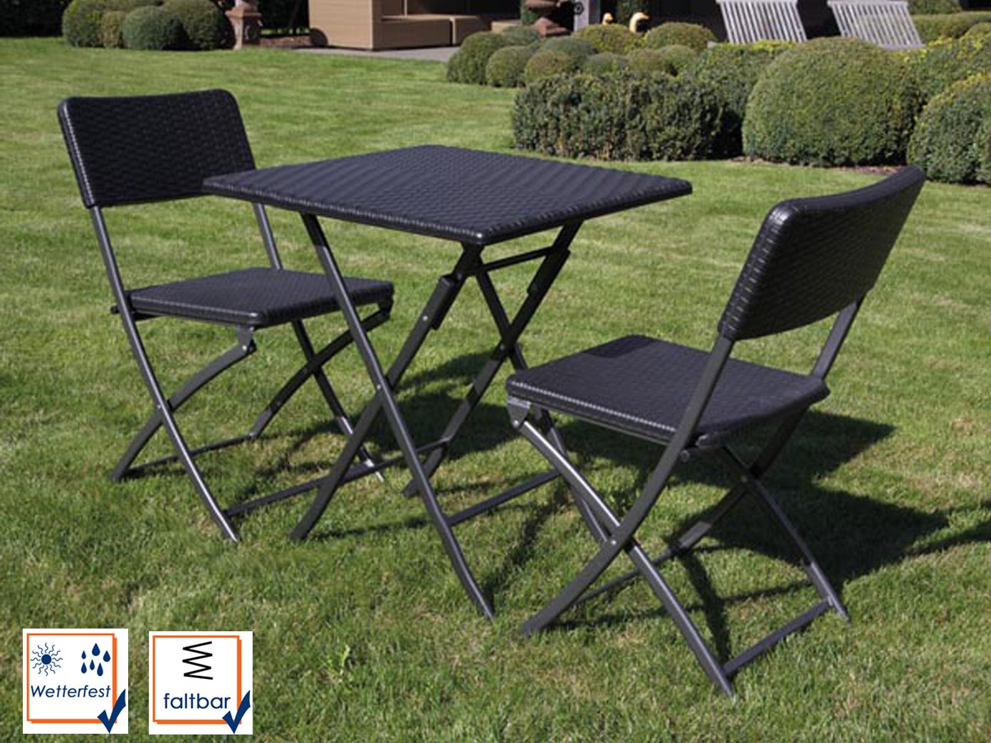 Wetterfeste Sitzgarnitur Kunststoff Stahl Klapp Tisch Stühle