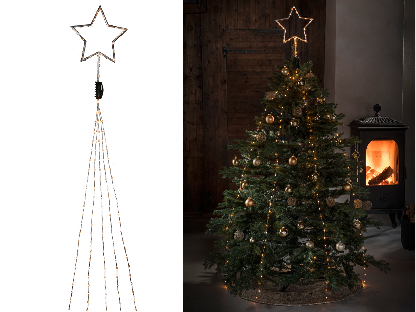 Weihnachtsbeleuchtung Tannenbaum Innen.Lichterkette Mit Top Stern Für Innen 247 Bernsteinfarbene Led S Weihnachtsbaum