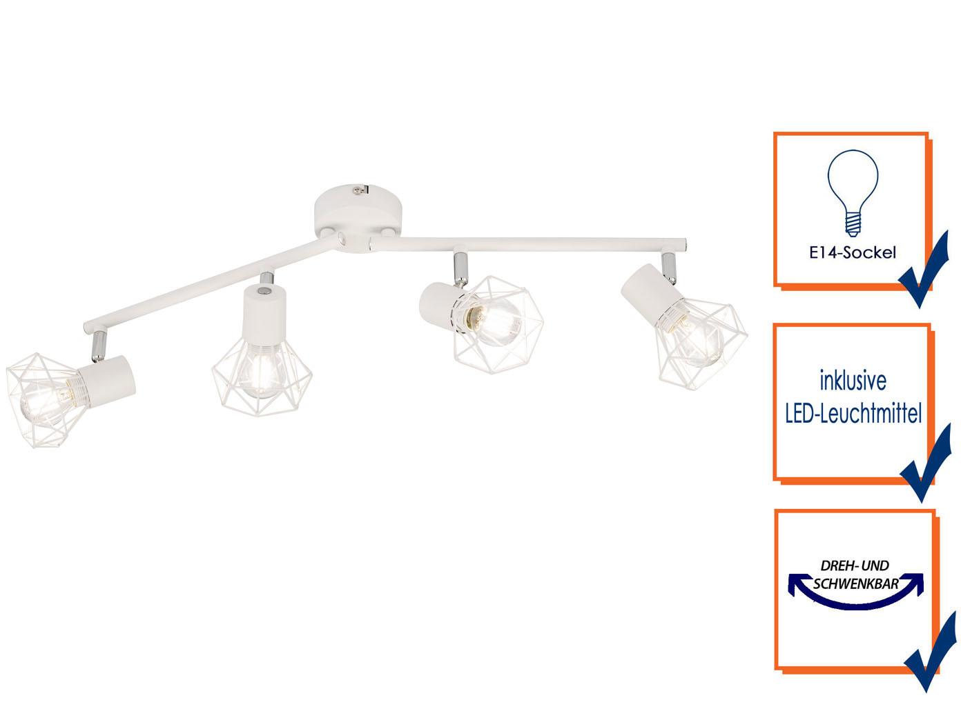 4flammige Led Deckenleuchte Lampenschirme Metall Weiss