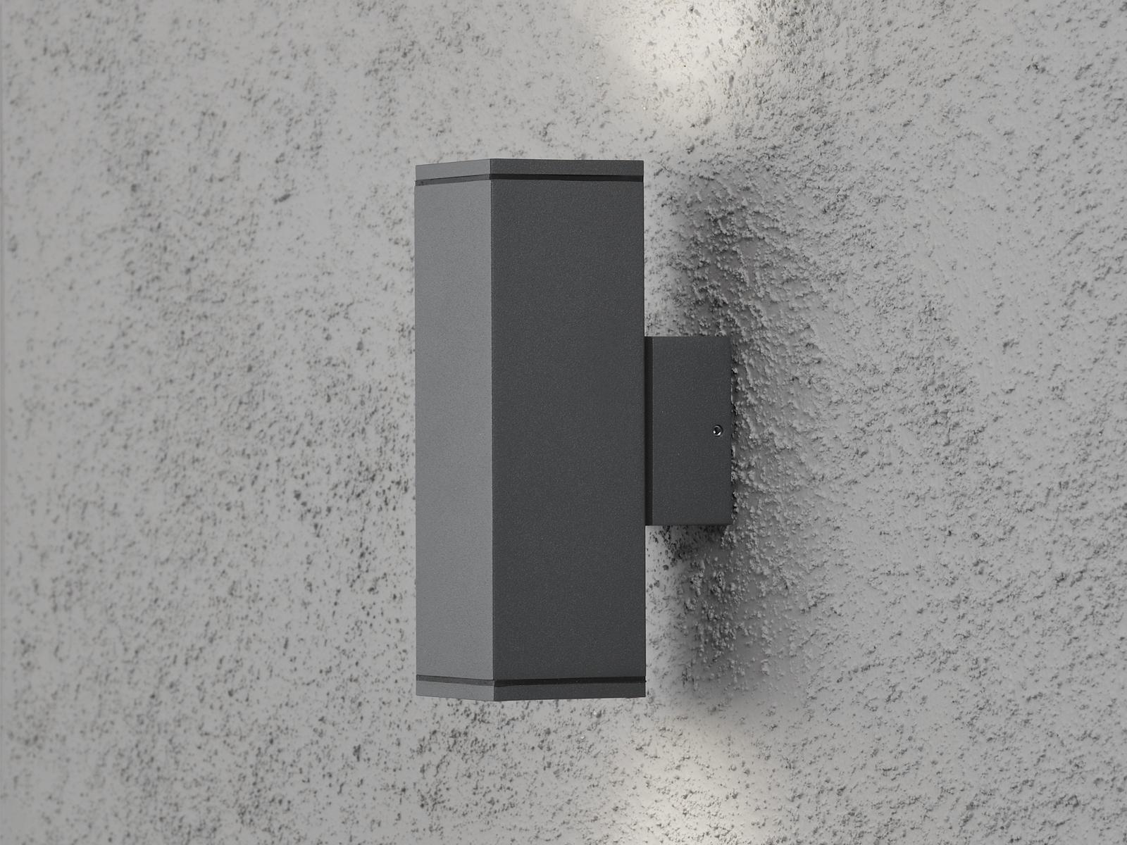 Wandleuchte außen anthrazit Up Down-light GU10-Fassung H. H. H. 20 cm IP44 Wegelicht 55ffdb