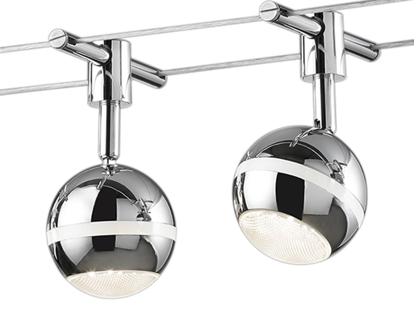 led lampen seilsystem 5 led spots kugel chrom 5 meter. Black Bedroom Furniture Sets. Home Design Ideas